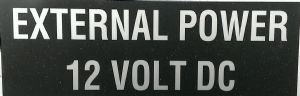 EXTERNAL POWER 12 VOLT  Decal